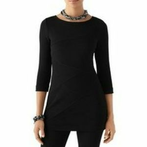 WHBM Black Textured Tunic Top Ribbed Size Small